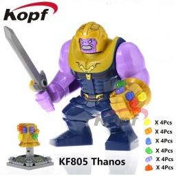 Jedna Sprzedaż Super Heroes Avengers 3 Thanos Nieskończoność Gauntlet Z 24 sztuk Moc Kamienie Vision KF805 Building Blocks Zabaw
