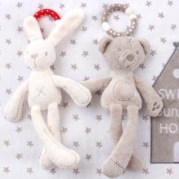 Cute Baby Łóżeczko Wózek Zabawka Królik Bunny Niedźwiedź Miękkie Pluszowe niemowląt Lalka Mobilny Łóżko Wózek dzieciak Zwierząt