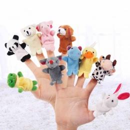 10 sztuk/partia Cartoon Zwierząt Aksamitna Palec Lalek Finger Toy Finger Doll Dziecko Tkaniny Ręcznie Edukacyjne Story Dziecko Z