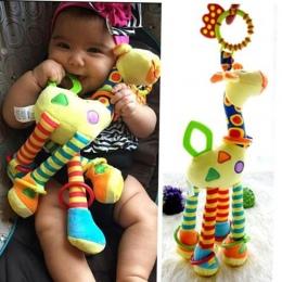 Pluszowe Niemowlę Dziecko Rozwoju Miękki Żyrafa Zwierząt Handbells Grzechotki Uchwyt Zabawki Hot Sprzedaży Z Gryzak Dla Niemowlą