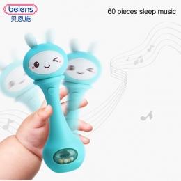 Beiens Strony Dziecka Bells 4 Kolor Zabawki Puzzle muzyki i Światła Potrząsając Grzechotki 6-12 Miesięcy Dźwięku i światła rytm