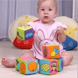 HOT!! 6 sztuk w 1 Zestaw Building Blocks Nowy Niemowlę Dziecko Tkaniny Tkaniny lalka Miękka Grzechotka wcześnie Edukacyjne Dla D