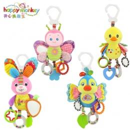 Szczęśliwy Małpa łóżeczko dzwon noworodków zabawki dla dzieci z BB dzwon pluszowe zabawki dla dziecka łóżko wisi dzwon cartoon z