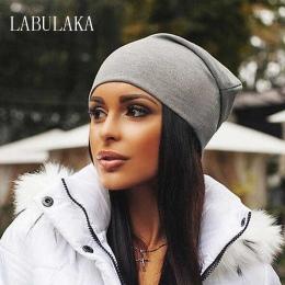 Czapki zimowe dla Kobiet Zimowe Bawełna Blended Hip Hop Czapki Slouch Ciepłe Kapelusz Festiwalu Unisex Bonnet Turban Cap Jednoli