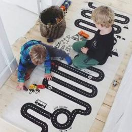 Kids Play Gra Mat Prostokąt Dywany Dywan Mat Bawełny Samochód Droga Indeksowania Koc Podłoga Dywan Dla Kid Pokoju Dekoracji INS