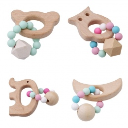 Bransoletka dziecka Ząbkowanie Zabawki Małych Zwierząt Shaped Biżuteria Organicznych Drewna Bukowego Silikonowe Kulki Baby Grzec