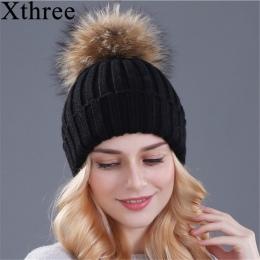 Xthree norek i fox fur ball cap pom poms czapka zimowa dla kobiet dziewczyny kapelusz z dzianiny czapki czapka marki nowe grube