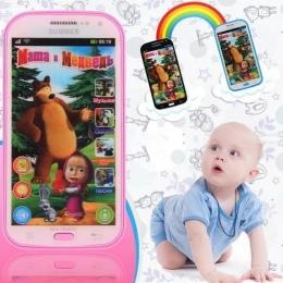 Angielski/Rosyjski Piosenka Dziecka Telefon Zabawki Symulator Telefon Muzyczny Ekran Dotykowy Dzieci Elektroniczne Uczenie Zabaw