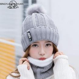 BINGYUANHAOXUAN B litery Kapelusz z dzianiny Kobiet Marka Wysokiej Jakości Zima Kobiety Ball Narciarskie Rabbit Fur Hat Pompony