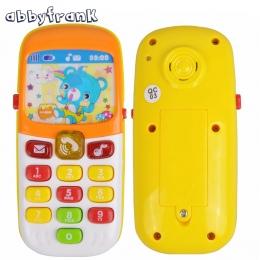 Abbyfrank Mini Słodkie Elektroniczna Zabawka Telefon Telefon Muzyczny Zabawki Edukacji Dla Dzieci Kreskówki Telefon komórkowy Te