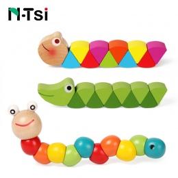 Kolorowe Drewniane Robak Puzzle Dla Dzieci Nauka Edukacyjne Didactic Dziecko Rozwoju Zabawki Palców Gry dla Dzieci Montessori Pr