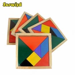 Surwish Drewniane Tangram 7 sztuka Puzzle Kolorowe Kwadratowy IQ Gra Łamigłówka Inteligentny Zabawki Edukacyjne dla Dzieci