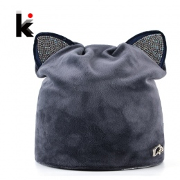 Jesień Zimowe damskie Czapki Cat Hat Panie Ciepły Aksamit Skullies Czapka Z Migającym Rhinestone Ucha Klapy Dziewczyny Śliczne M