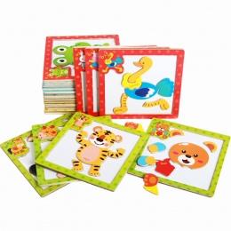 Cartoon Drewniane zabawki Magnetyczne Puzzle Edukacyjne Rozwojowa Zabawka Dla Dzieci Dzieci 3D Magnetyczne Puzzle Drewniane Zaba