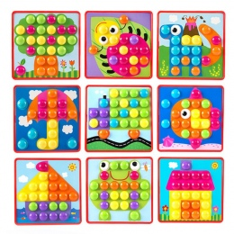 3D Puzzle Zabawki dla Dzieci Kreatywny Zestaw Przyciski Grzyba Paznokci Sztuki Mozaiki Mozaiki Montażu Oświecenia Zabawki Edukac
