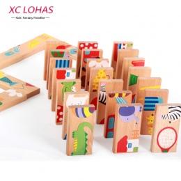 28 sztuk/zestaw Zwierząt Kolorowe Domino Drewniane Puzzle Montessori Zabawki Edukacyjne Dla Dzieci Słodkie Urodziny Prezenty Śmi