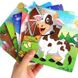 MUQGEW Drewniane Puzzle Układanki Zabawki Drewniane Dla Dzieci Cute Cartoon Zwierząt Puzzle Inteligencja Dzieci Zabawki Edukacyj