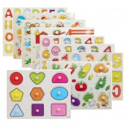 30 cm Kid Wczesne edukacyjne zabawki dla niemowląt rąk chwyć drewniane puzzle zabawki alfabet i cyfrowy nauka edukacja drewno dz