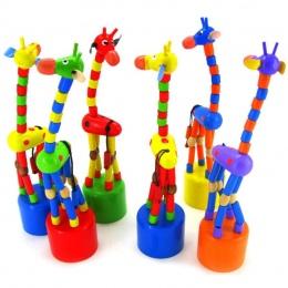Dzieci Inteligencja Zabawki Taniec Kolorowe Stoiska Kołysania Żyrafa zabawki Drewniane juguetes de madera Levert dla ChildernDro