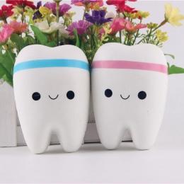 1 pc 11 cm Cute Cartoon Ząb Wisiorek Squishy Zabawki Powolne Wschodzące Ręcznie Spinner Zęby Miękkie Wycisnąć Śliczne Rozciągliw