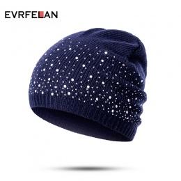 Evrfelan zima jesień beanie kapelusze kobiety miękkie knitting skullies czapki kapelusz kobiet moda rhinestone bawełna hat cap